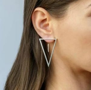 silver front back triangle earrings